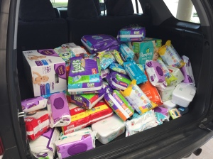 Diapers and wipers collected at this year's VBS